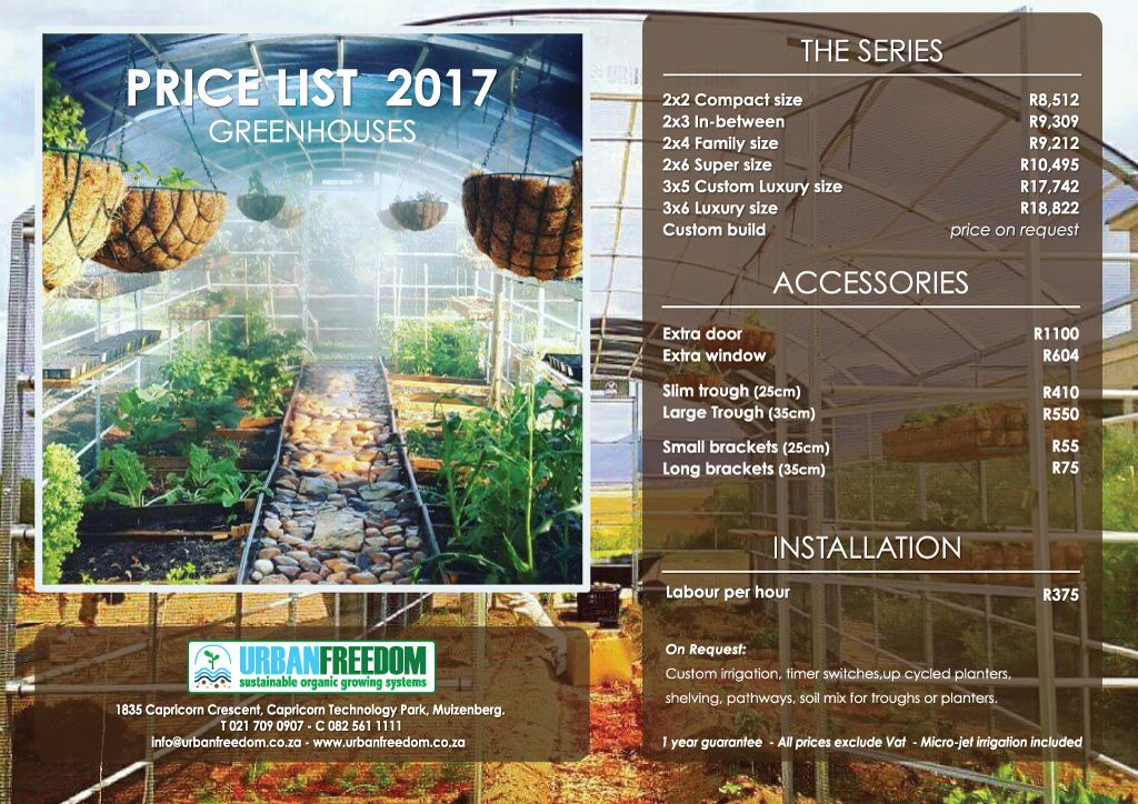 Greenhouses Price List 2017